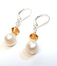 November Birthstone Earrings - Freshwater Pearl and Topaz Crystal Sterling Silver