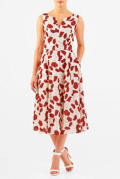 I <3 this Floral print split neck cotton dress from eShakti