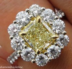 3.54ct Estate Vintage Fancy Yellow Radiant Diamond Cluster Engagement Wedding 18k White Gold Ring EGL USA