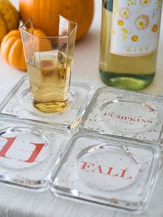 Turn your favorite fall words and images into coasters! More simple #fall projects: http://www.bhg.com/thanksgiving/crafts/colorful-simple-fall-projects/?socsrc=bhgpin110712fallcoasters#page=17