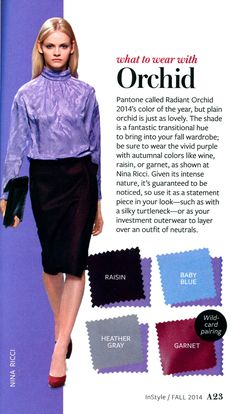 What to wear with Orchid - InStyle InStyle Color Crash Course- Colour Combinations Fashion, Color Combinations For Clothes, Fashion Colours, Colorful Fashion, Color Combos, Fashion Vocabulary, Color Pairing, Color Balance, Color Trends