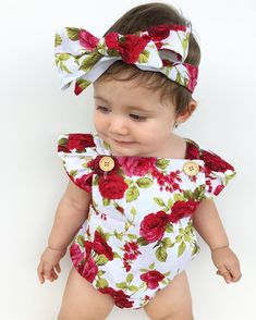Cute Newborn Baby Girls Flower Romper Sunsuit Backless Cotton Bodysuit FW