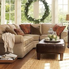 Neutral Living Room With Taupe Sectional Design Ideas, Pictures, Remodel, and Decor - page 3