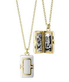 Monica Rich Kosann ceramic and gold locket necklace--Locket necklace in 18k gold with ceramic and 0.08 ct. t.w. diamonds, $5,950