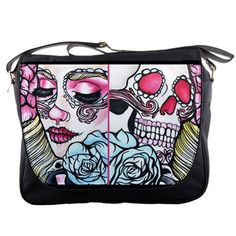 Womens Day of the Dead Rainbow Messenger by Pajamasquid on Etsy, $67.99