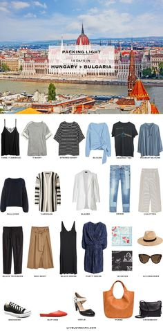 What to Pack for Hungary and Bulgaria Packing Light List What to pack for London England packing light list Summer Packing Lists, Packing Tips For Travel, Europe Packing, Vacation Packing, Travel Guides, Travel Wardrobe, Capsule Wardrobe, Fall Wardrobe, Travel Outfit Summer