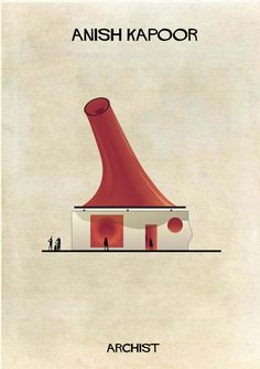 Anish Kapoor in architectural form. Illustrator Federico Babina's Archist imagines artists as architecture, studying the influence contemporary art has on modern design. More from the series at our site.