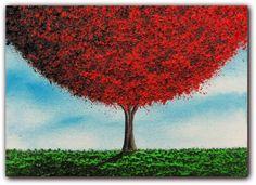 Original Art Landscape Painting, Contemporary Art Oil Painting, Red Tree Art, Tree Painting Wall Art.