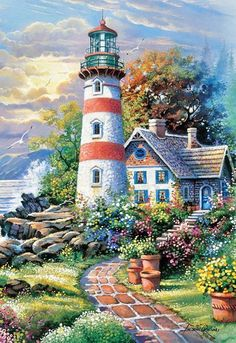"Light House Point Cross Stitch Pattern***L@@K***YOUR FINISHED PATTERN SIZE. 252 Stitches x 360 Stitches 14.0"" X 20.0"" ON (18 COUNT) AIDA CLOTH. ~~ I SEND WORLD-WIDE ~~Free"