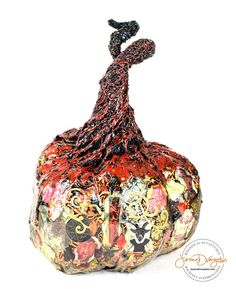 El Diablo! One of a kind paper mache pumpkin by sculpture artist Jessica Dvergsten