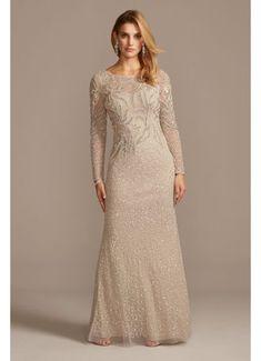 Beaded Scoopneck Illusion Long Sleeve Sheath Dress AP1E205390