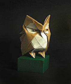 OWL origami- need to try this one! I know how to make an origami owl but this one looks even more realistic.