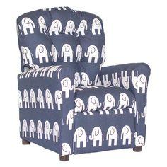Brazil Furniture Ele 4 Button Child Recliner Blue - 400-ELE BLUE