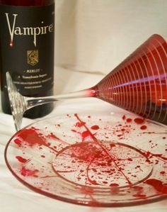 Blood Spattered Salad Plates. Murder Mystery/Vampire Themed Dinner?