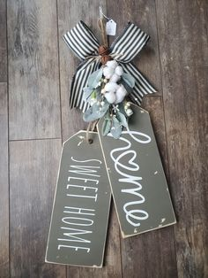 Custom order on this too, farm style. Home decor, door tags, home. Decor Crafts, Diy Home Decor, Christmas Crafts To Make And Sell, Wood Tags, World Crafts, Sweet 16 Parties, Dollar Store Crafts, Front Door Decor, Hanging Signs