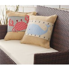 2 nautical styles. Pillow wraps feature blue ticking wrap with printed burlap crab ?applique and cross stitch trim. Secures with Velcro at back.