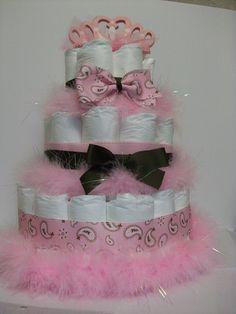 Pretty Princess diaper cake - use a pink boa, ribbon, and bows