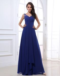 Chiffon Beaded Shoulder Straps Floor Length Evening Dress
