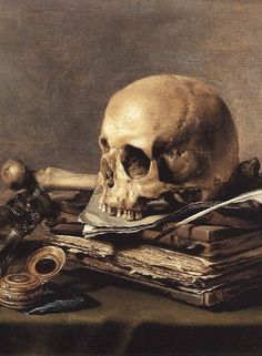 Pieter Claesz (Amberes, 1597-1660). Vanitas Still Life, c. 1630 Vanitas - Dutch paintings developed from floral to include skulls and other items which dealt with the transient nature of life. Would also include musical instruments as music could not be recorded so once finished no longer existed.