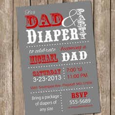 Dad baby shower invitation diaper baby shower by ModernBeautiful, $13.00--- FOR SULLY
