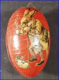 Vintage German Paper Mache Easter Egg Candy Container Bunny Rabbits