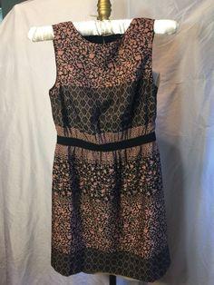 ❤️Ann Taylor LOFT PETITES Boho FLORAL PINK MAUVE BLACK DRESS Above Knee Vtg Vibe  | eBay