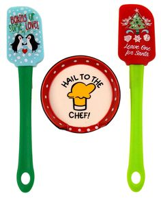Cobble Creek Hail To The Chef Spoon Rest Christmas Tree Penguin Spatulas Set 3