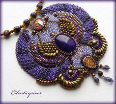 "Buy Necklace ""Scarab 4"" - dark purple, purple, lilac, gold, rainbow, yellow, scarab"