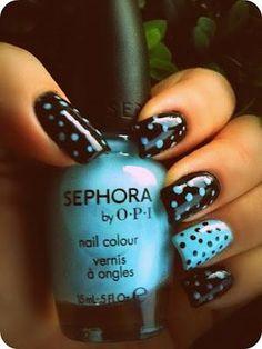 Black & Blue Polka Dots