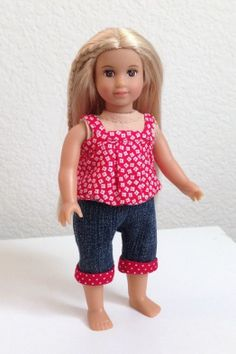 Mini American Girl red and white baby doll shirt and jean capris for 6 1/2 inch dolls