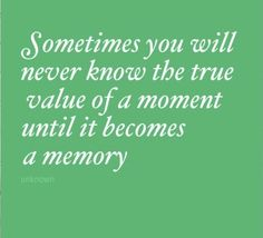 """""""Sometimes you will never know the true value of a moment until it becomes a memory."""" #quote"""