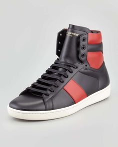 Saint Laurent | Men's Two-Tone Leather High-Top Sneaker
