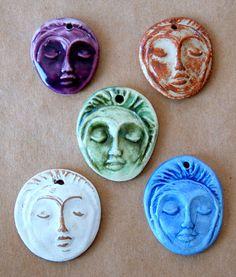 5 Handmade Ceramic Beads  Face Beads  Meditation by beadfreaky, $11.00