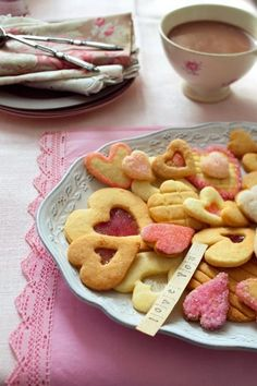 Shortbread Cookies in the shape of heart, filled with candy and decorated sugar
