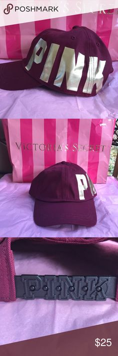 💕VS..DEEP RUBY CAP WITH GOLD LETTERING.BOUGHT NEW 💕🌺..VICTORIA SECRETS PINK CAP...DEEP RUBY WITH BOLD LETTERS AND ADJUSTABLE...ONE SIZE FITS ALL...IMPORTED COTTON...COMES PACKAGED...LUV THIS CAP.❤️💕BOUGHT NEW AT VS .ON LINE... PINK Victoria's Secret Accessories Hats