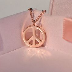 Rose Gold Peace Sign Necklace