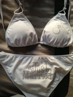 """Can't wait to wear my new """"Just Married"""" bikini I purchased from etsy.com on our honeymoon :)"""