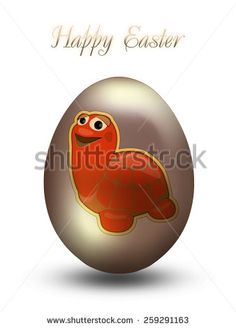Easter egg with turtle sticker - stock photo