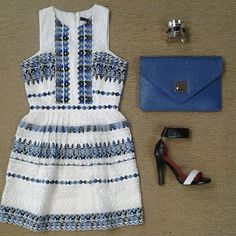 BCBG Cecile cut-in dress, BCBG blue ostrich clutch, Jeffrey Campbell black and white sjin sandal, and silver with black stones Moroccan bracelet.