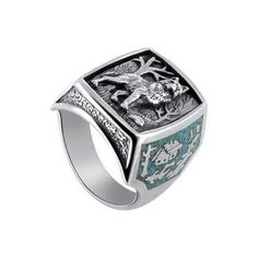 Sterling Silver Turquoise Wolf Ring for a man. Beautiful!