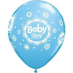 Retail: Bedrukte Latex Ballonnen Baby Boy Dots Robin's Egg 40 cm 6 stuks
