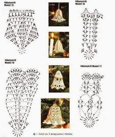 Crochet Patterns Christmas Crochet Bells with DiagramsRomans z szydełkiem: listopada Crochet Patterns Part 3 - Beautiful Crochet Patterns and Knitting Patterns Crochet Christmas Decorations, Christmas Crochet Patterns, Crochet Decoration, Crochet Ornaments, Holiday Crochet, Crochet Snowflakes, Christmas Crafts, Crochet Diagram, Crochet Chart