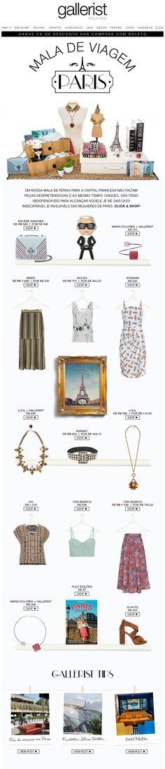 layout, newsletter, fashion news, gallerist, mala de viagem, paris