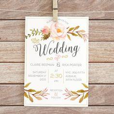 Printable Floral Wedding Invitation   Floral by ColorOfPlum