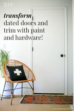 Transforming dated doors with paint and hardware (step-by-step and video) / Step-by-step home DIY: transform dated doors and trim with paint and hardware! Using Benjamin Moore Advance paint from Orchard Supply Hardware #myOSHproject