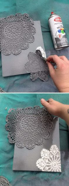 DIY Spray Painted Doily Canvas. #diyroomdecor