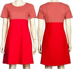 Jurkje Emma, rode katoenen tricot met een rode jaren 60 trivera stof. Pop Rok