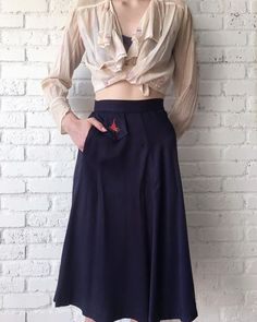 1940s Campfire Girls Skirt / 40s Navy High by SugarVioletteVintage