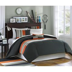 @Overstock - The Circuit casual comforter set offers an urban feel with olive green pieced with khaki and orange micro-fiber. This comforter set features twill tape details, along with top stitching.http://www.overstock.com/Bedding-Bath/Mizone-Circuit-Comforter-Set/5982778/product.html?CID=214117 CAD              63.92