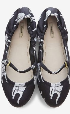 Miu Miu Black and Silver Printed Ballet Flat via Vaunte.